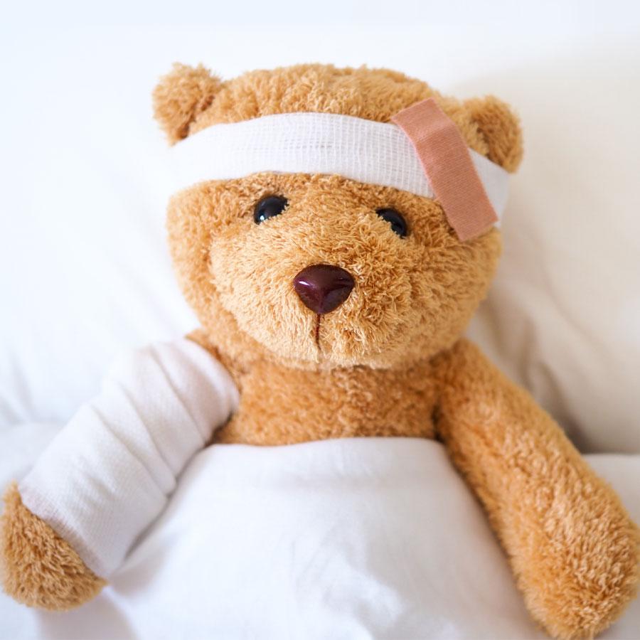 Un orsetto in convalescenza dopo il primo soccorso.